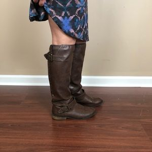 Shoes - Target brown high boots with red back zipper 8.5